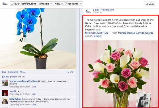 1 800 Flowers offers deals on Facebook