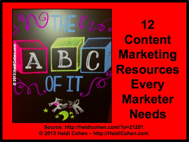 Top Content Marketing Resources via HeidiCohen.com