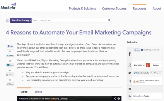 Marketo's repurposed email marketing content