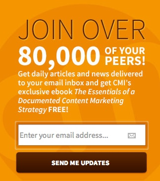Email registration-call to action for Content Marketing Institute
