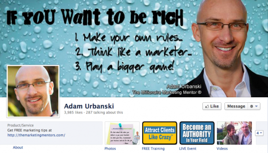 Sample of Facebook Timeline Image with message