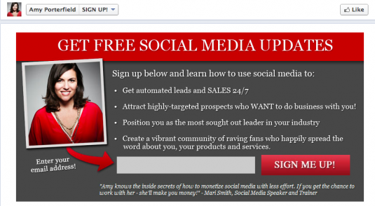 How to create a signup page on Facebook via Amy Porterfield