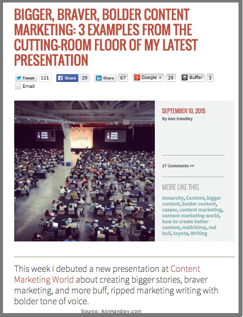 Example of How Ann Handley Transforms Presentations Into Blog Posts