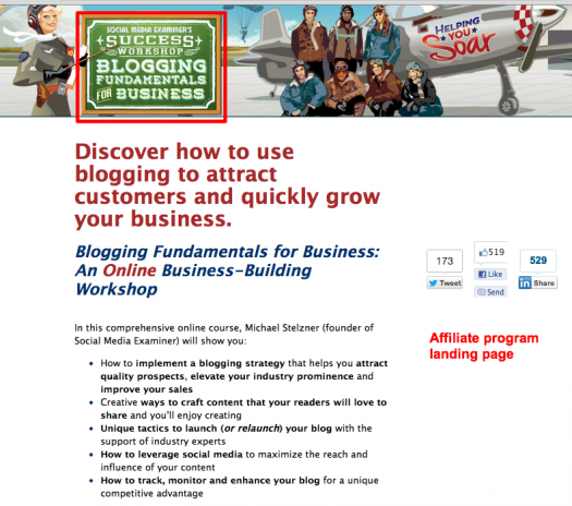 Landing page for Social Media Examiner affiliate program