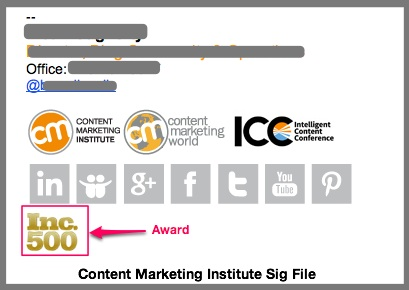 CMI Sig File Contains Marketing Award