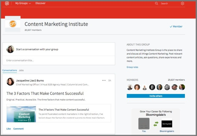 Example of a LinkedIn Group Page-Content Marketing Institute