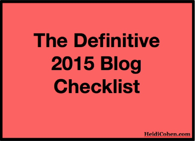 Definitive 2015 Blog Checklist