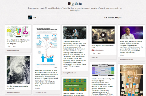 IBM uses phootgraphs and infographics to illustrate the power of Big Data on Pinterest