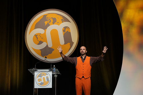 Joe Pulizzi in Content Marketing Institute Orange at Content Marketing World