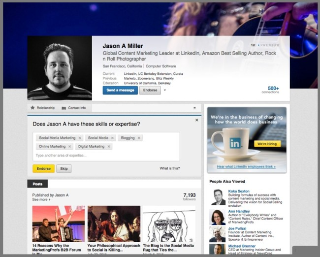 Example of LinkedIn Profile Page - Jason Miller