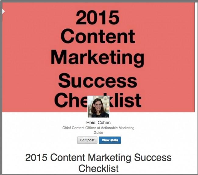 LinkedIn Publishing-2015 Content Marketing Success Checklist | Heidi Cohen | LinkedIn