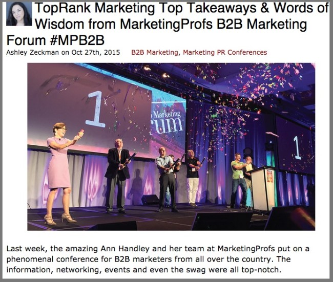 Live Blogging Example On TopRank Blog