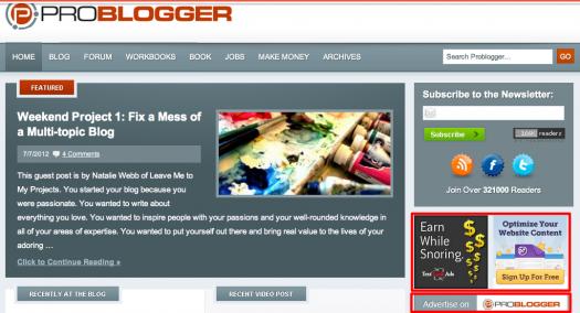 Ads on Problogger