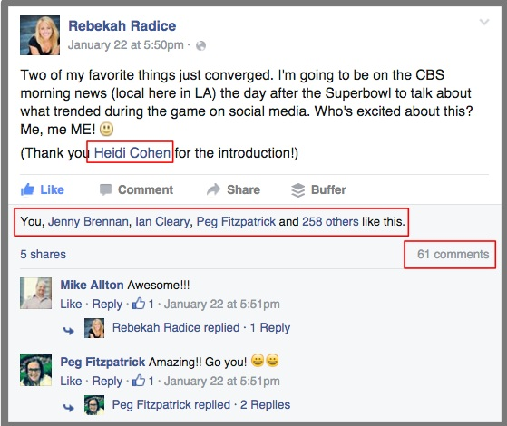 Rebekah Radice Facebook Mention