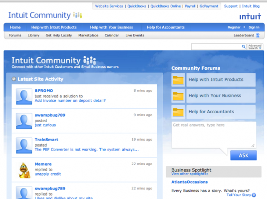 Intuit uses bulletin board format to answer community questions
