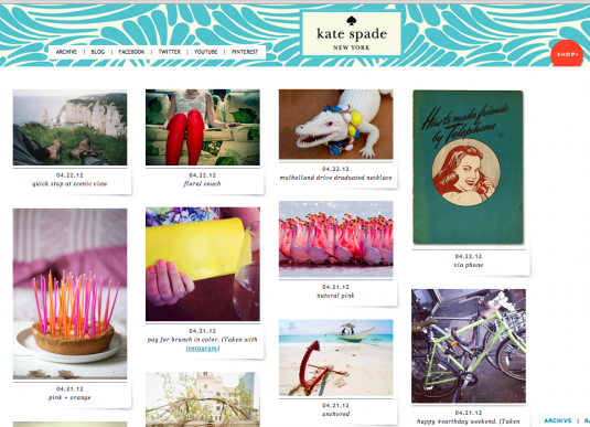 Tumblr combines photos & sales for Kate Spade