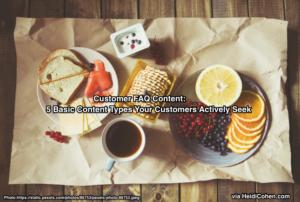 Customer FAQ Content Like 5 Food Groups