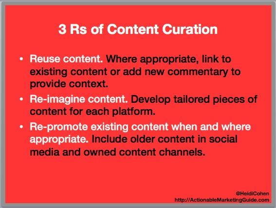 3 Rs of content curation-Heidi Cohen