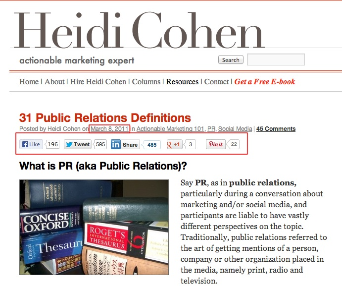 Heidi Cohen's First Content Curation Roundup Post