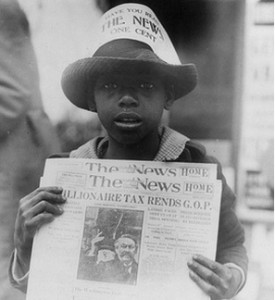 African Amercian Newspaper Boy 1921
