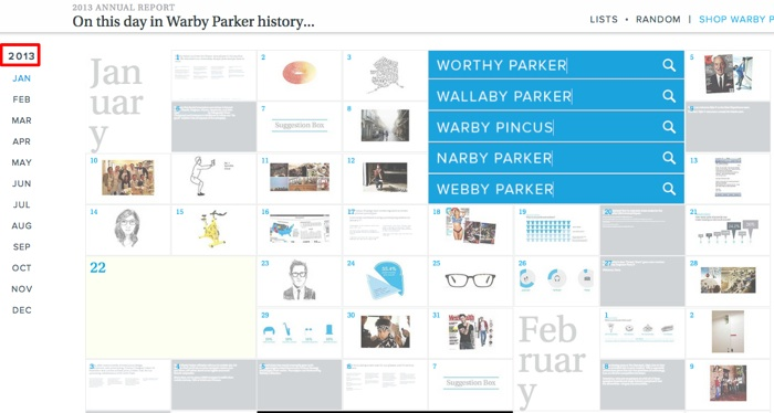 Corporate Communications as Content Marketing: Warby Parker Annual report