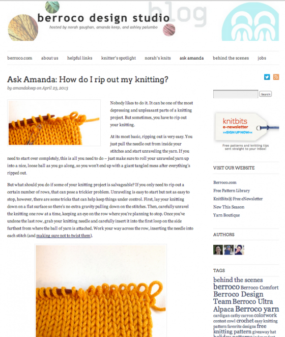 Ask Amanda How do I rip out my knitting berroco design studio