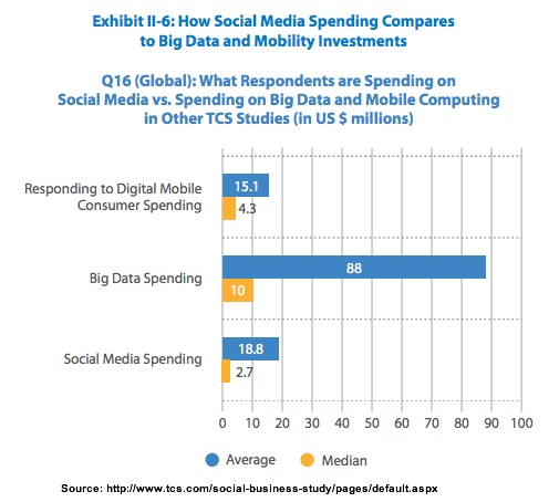 Average spend on mobile big data and social media-TCS-3Q2013