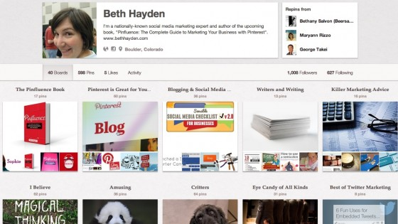 Beth Hayden author of Pinfluence Pinboard
