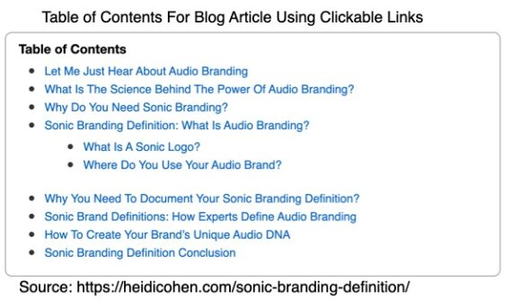 Table of contents for a blog article