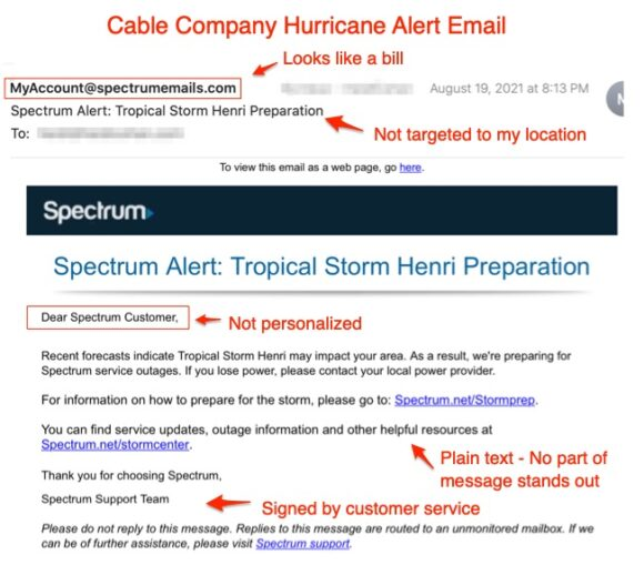 Cable Company Hurricane Alert Email