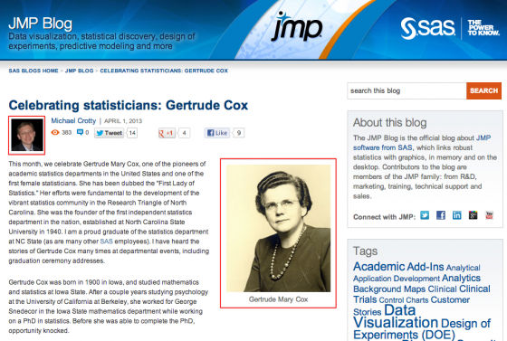 SAS highlights a statistician (Gertrude Mary Cox) with a photo and a biography on their corporate blog. Additionally they show a photo of the post author.