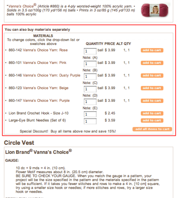 Yarn details for circle vest.