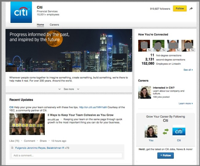 Example of a LinkedIn Company Page - Citibank