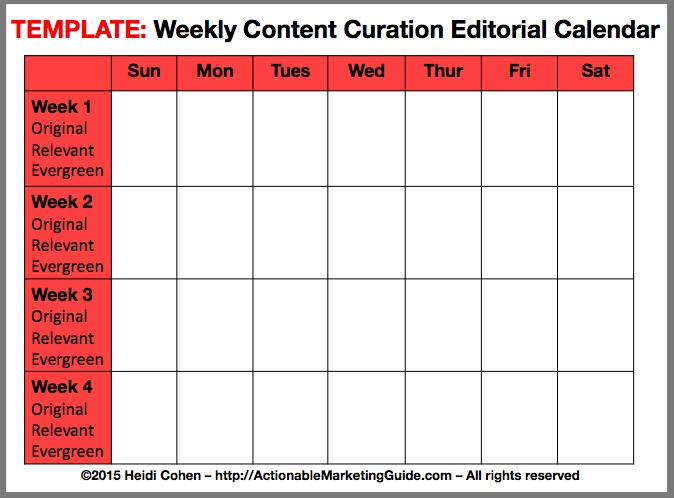 Content Curation Editorial Calendar -Weekly Version-Heidi Cohen
