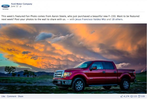 Ford Motor Company Facebook Page - Featured Fan Photo - User Content
