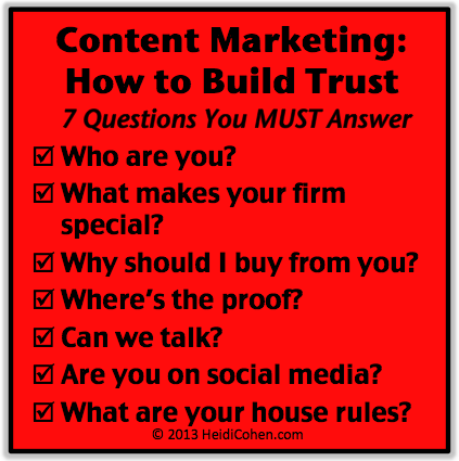 Content marketing how to build trust graphic heidi cohen for Marketing to builders