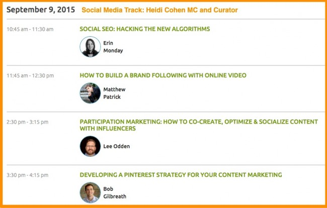 Content Marketing World 2015-Social Media Schedule-Wednesday-1