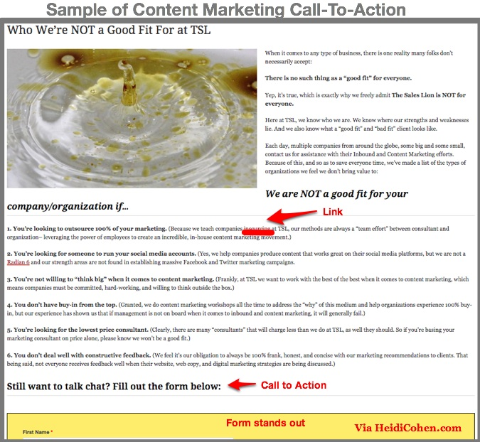 Content marketing Call to Action Sample