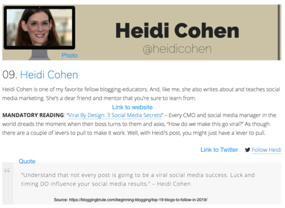 Heidi Cohen is number 9 on Mike Alton's list