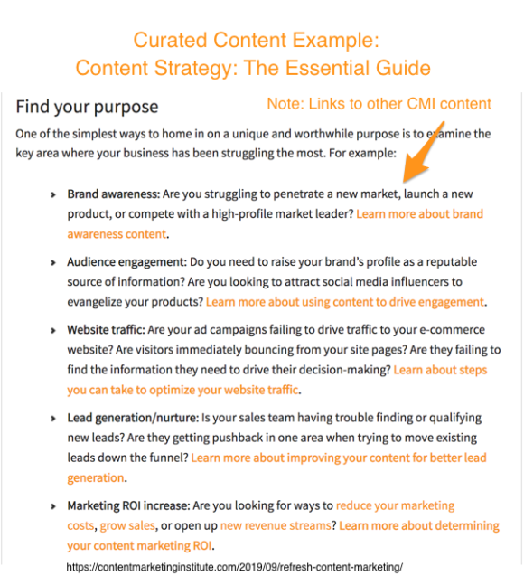 Core content types-curated content via content marketing institute