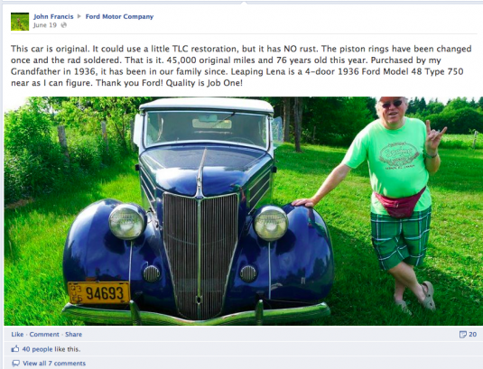 Ford posts customers photos of Ford cars on Facebook