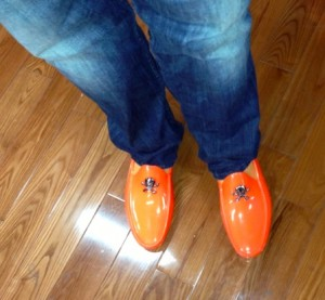 Dave Kerpen Orange Shoes-Heidi Cohen