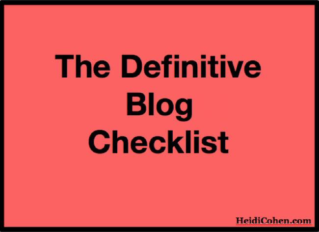 Definitive 2015 Blog Checklist