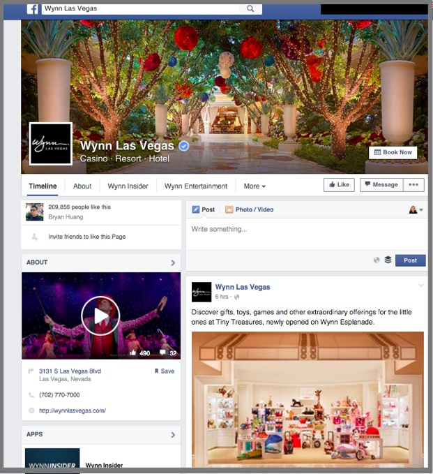 Active Facebook Page for Wynn Las Vegas