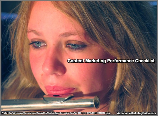 Girl playing flute-Content Marketing Performance Checklist