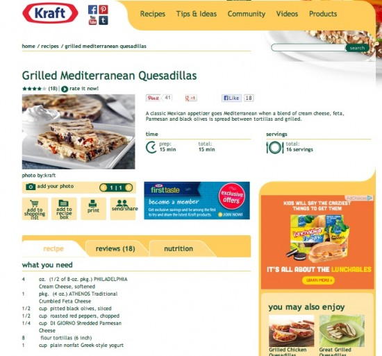 Grilled Mediterranean Quesadillas Recipe - Kraft Recipes