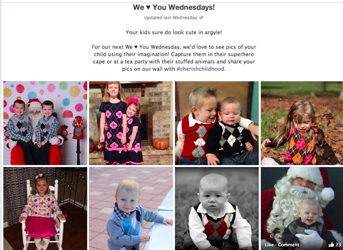 Gymboree-We Heart You Wednesdays on Facebook