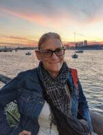Heidi in Riverside Park at sunset