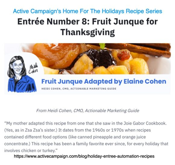 Active Campaign's Home For the holidays with Heidi Cohen's fruit Junque