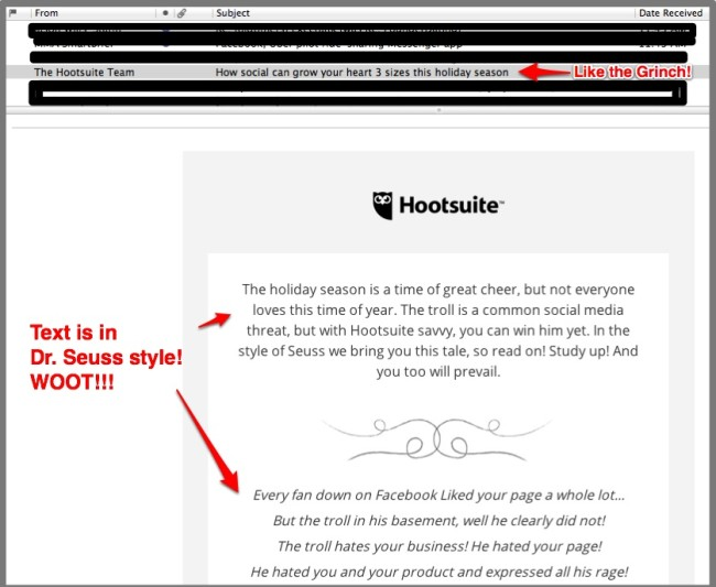 Hootsuite: Example of Small Business Holiday Marketing